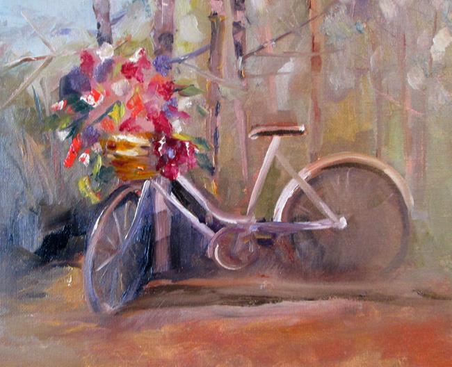 Art: Bike with Basket of Flowers by Artist Delilah Smith