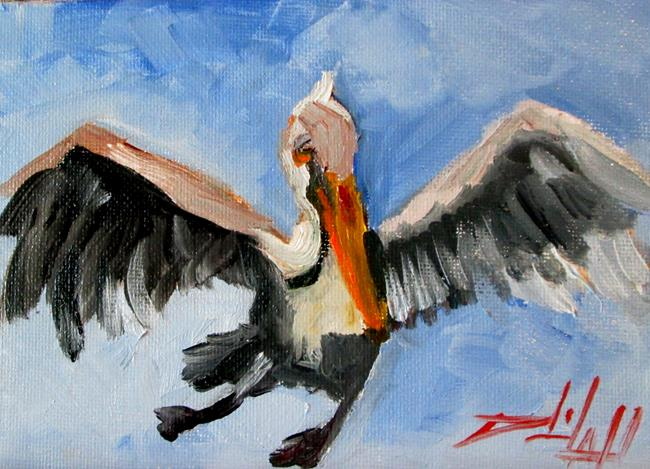 Art: Flying Pelican by Artist Delilah Smith