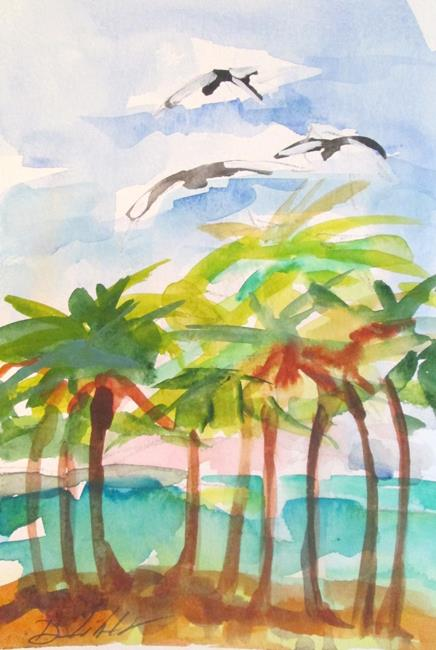 Art: Palm Trees and Pelicans by Artist Delilah Smith