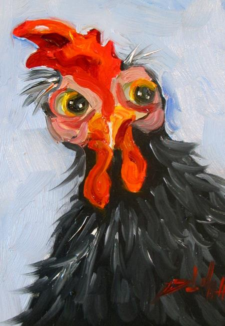 Art: Black Rooster by Artist Delilah Smith