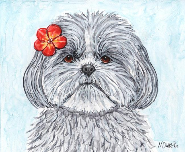 Art: Scarlet Flower and Shih Tzu ebsq.jpg by Artist Melinda Dalke