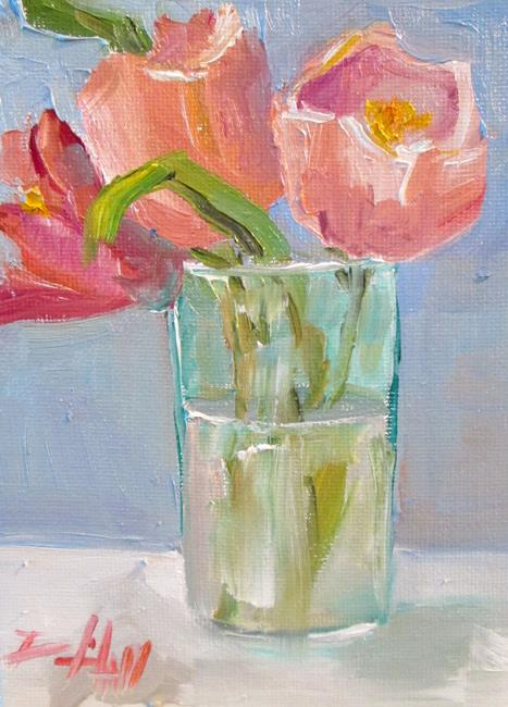 Art: Tulips in a Glass by Artist Delilah Smith