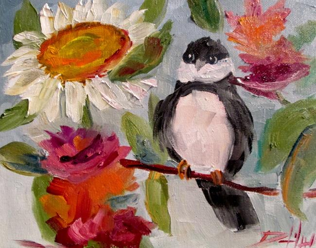 Art: Bird and Flowers by Artist Delilah Smith