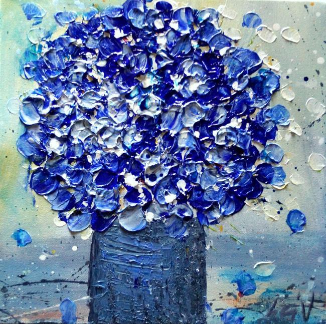 Art: Blue Flowers Bouquet by Artist LUIZA VIZOLI