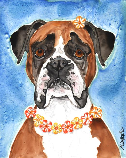 Art: Boxer and Flowers by Artist Melinda Dalke
