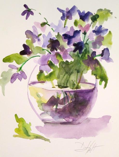 Art: Purple Flowers in Water by Artist Delilah Smith