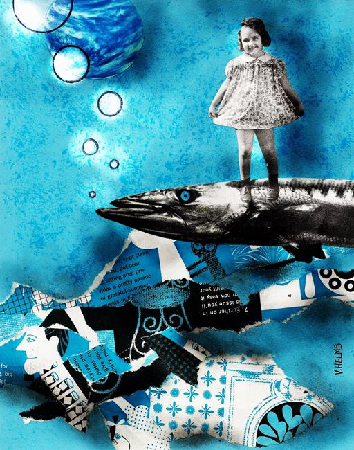 Art: Busting a Move on a Blue Eyed Barracuda by Artist Vicky Helms
