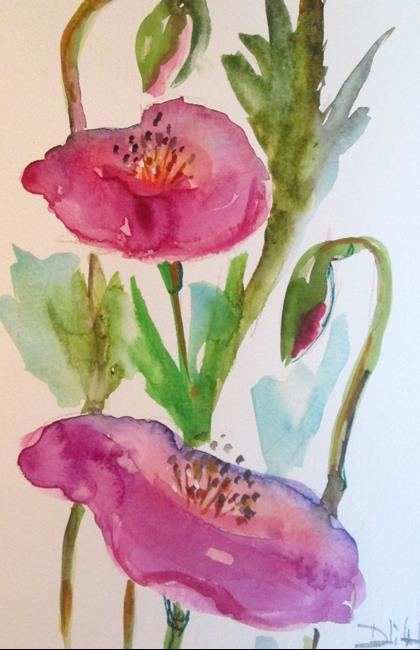 Art: Purple Poppies by Artist Delilah Smith