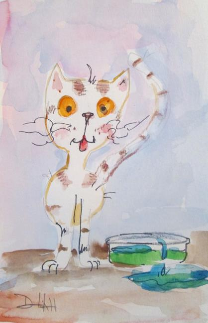 Art: Cat and Water Dish by Artist Delilah Smith