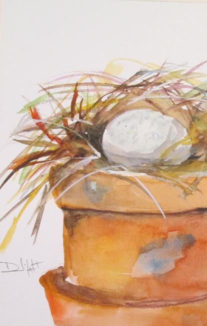 Art: Nest in a Clay Pot by Artist Delilah Smith