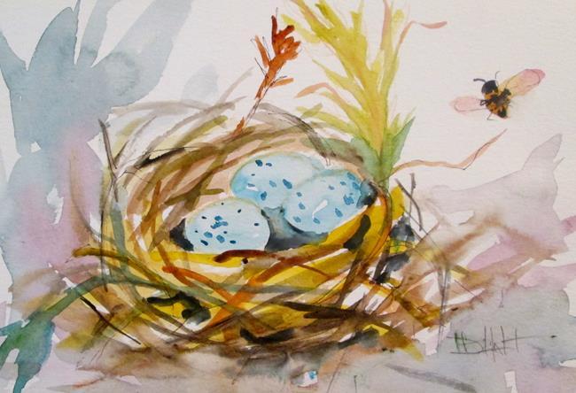 Art: Blue Eggs in Nest by Artist Delilah Smith