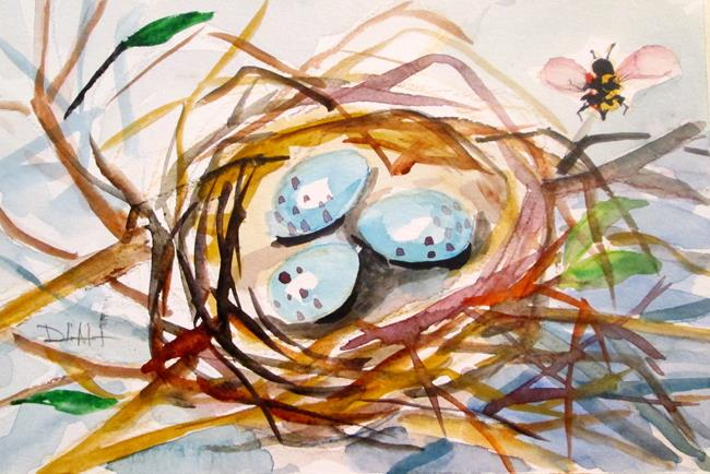Art: Nest with Eggs by Artist Delilah Smith