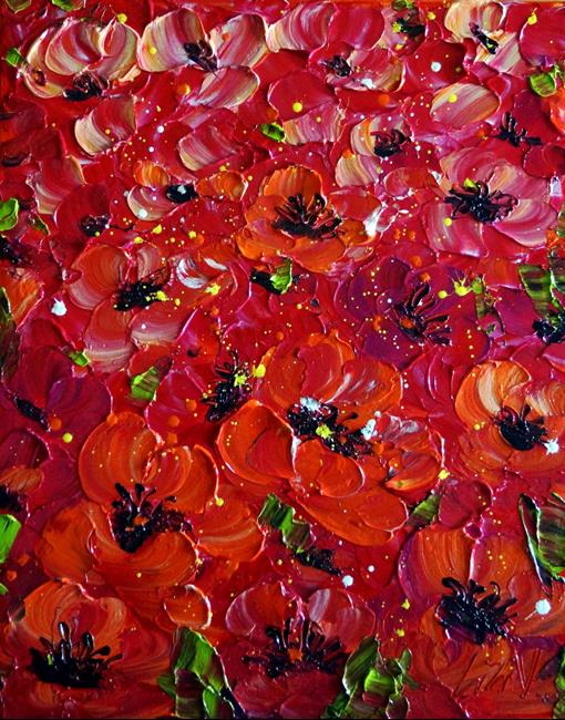 Art: SUMMER RED BLOSSOM Sicilian Poppies by Artist LUIZA VIZOLI