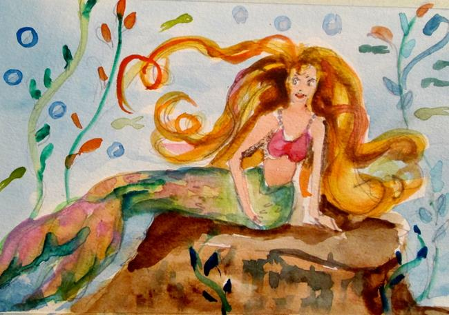 Art: Mermaid on a Rock by Artist Delilah Smith