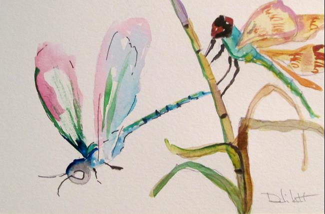 Art: Two Dragonflies by Artist Delilah Smith