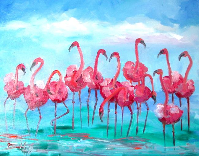 Art: Flock of Pink Flamingos by Artist Delilah Smith