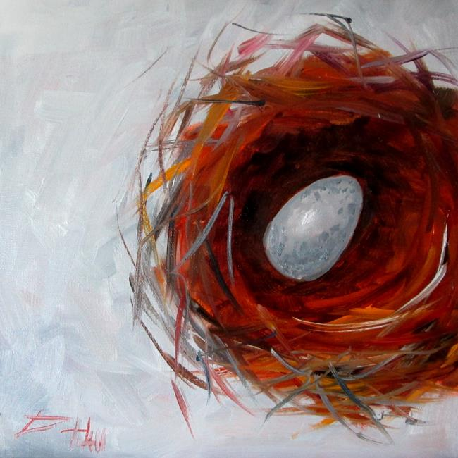 Art: Nest and One Egg by Artist Delilah Smith