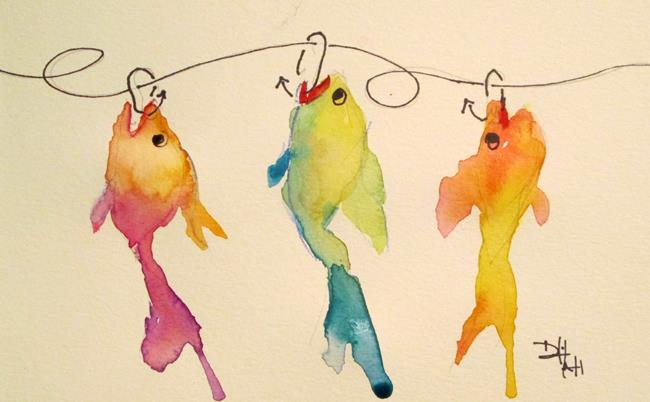 Art: Three Fish on a Hook by Artist Delilah Smith