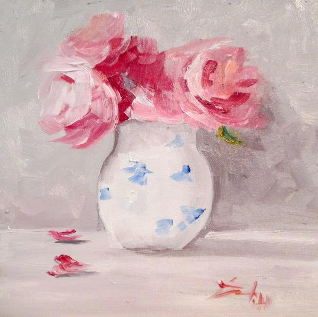 Art: Pink Flowers in a White Vase by Artist Delilah Smith