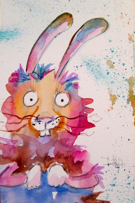 Art: Colorful Bunny by Artist Delilah Smith