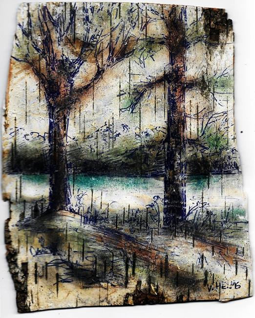 Art: Trees on Johnson Lake by Artist Vicky Helms