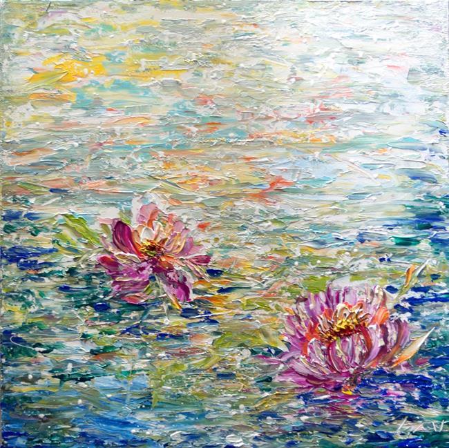 Art: Japanese LOTUS FLOWERS by Artist LUIZA VIZOLI