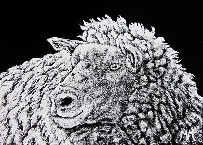 Art: Baa Ram Ewe  (SOLD) by Artist Monique Morin Matson