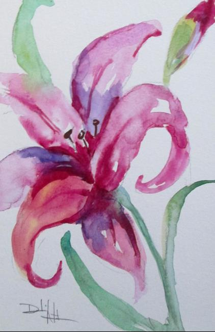 Art: Pink Day Lily by Artist Delilah Smith