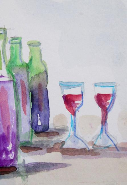 Art: wine Aceo by Artist Delilah Smith