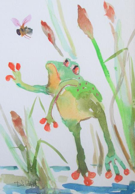 Art: Frog and Bee by Artist Delilah Smith