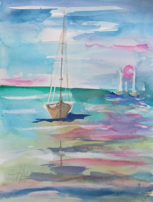 Art: Seascape with Sailboats by Artist Delilah Smith