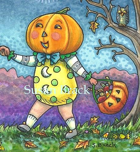 Art: PUMPKIN CHILDREN ON A HALLOWS EVE Cropped by Artist Susan Brack