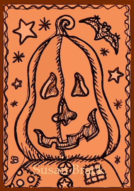 Art: SMILES ARE FREE PUMPKIN MAN 2 by Artist Susan Brack