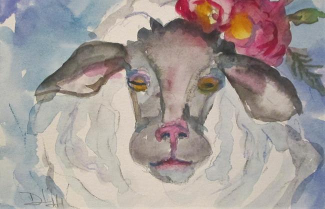 Art: Sheep with Flowers by Artist Delilah Smith