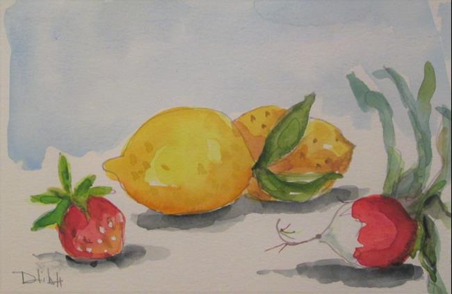 Art: Lemon ,Strawberry and Radish by Artist Delilah Smith