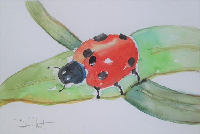 Art: Ladybug on a Leaf by Artist Delilah Smith