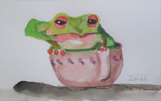 Art: Frog in a Cup by Artist Delilah Smith
