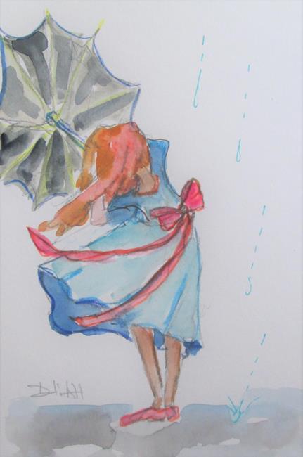 Art: Girl in the Rain by Artist Delilah Smith