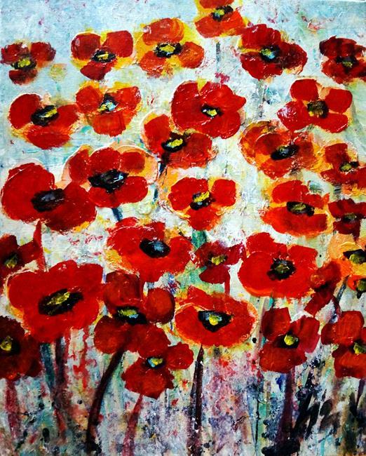 Art: Red Summer Flowers by Artist LUIZA VIZOLI