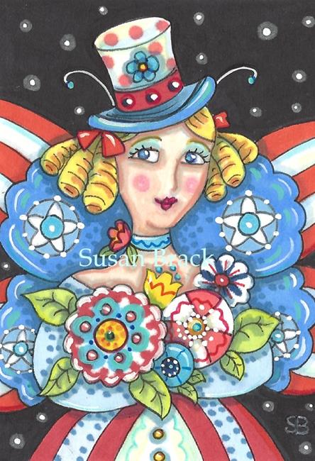 Art: INDEPENDENCE DAY FAIRY by Artist Susan Brack