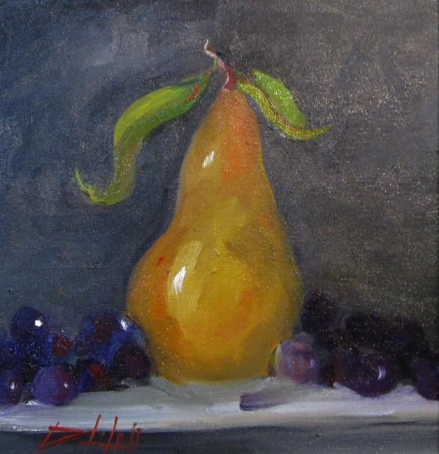 Art: Bosc Pear and Grapes by Artist Delilah Smith