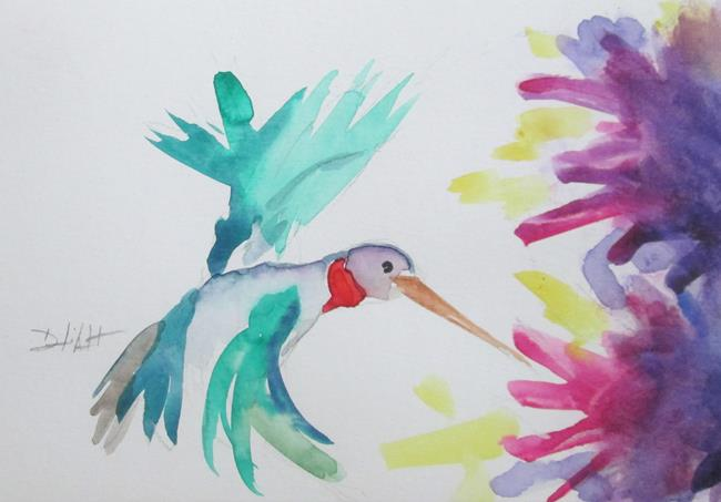 Art: Hummingbird and Purple Flowers by Artist Delilah Smith