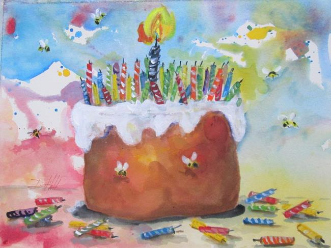 Art: The Big Bee Day, 50 candles by Artist Delilah Smith