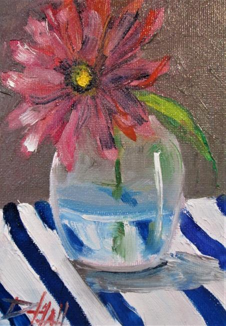 Art: Gerber Daisy on Stripes by Artist Delilah Smith