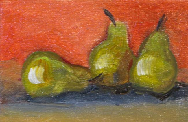 Art: Three Green Pears,aceo by Artist Delilah Smith