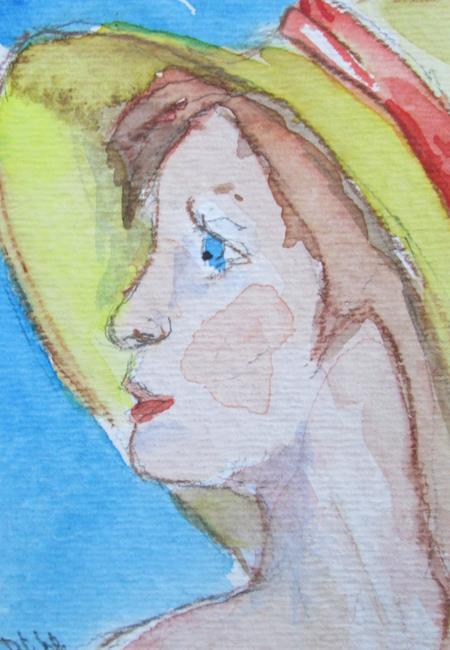 Art: Lady in Hat,aceo by Artist Delilah Smith