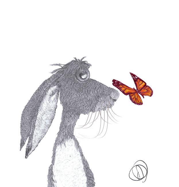 Art: HARE with BUTTERFLY hp001 by Artist Dawn Barker
