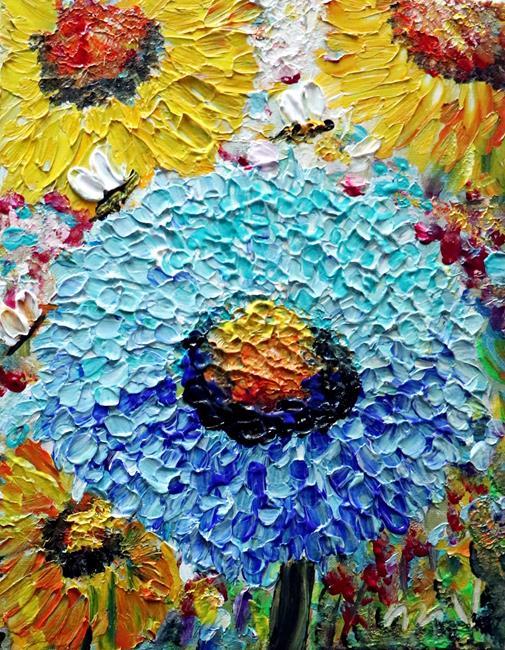 Art: Blue Prairie Zinnia Summer Flowers by Artist LUIZA VIZOLI