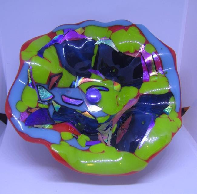 Art: Original Fused Glass Wall Flower by Artist Paul Lake, Lucky Studios