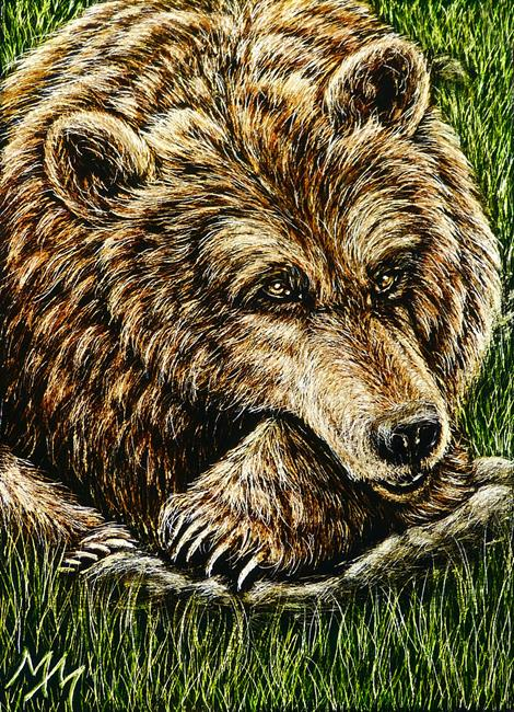 Art: Bearly Awake  (SOLD) by Artist Monique Morin Matson